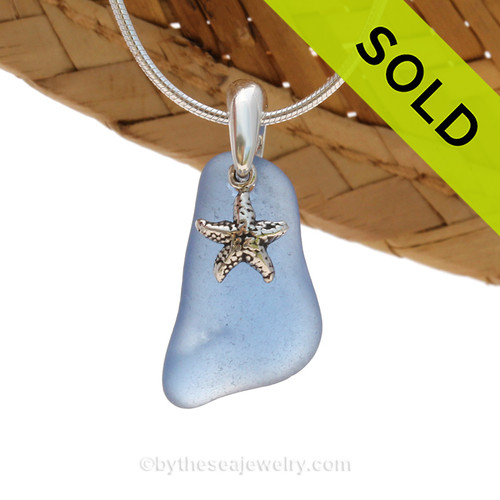 A nice piece of Carolina Blue Certified Genuine Sea Glass in a Sterling Necklace with a Starfish Charm. Sorry this Sea Glass Necklace has been SOLD!