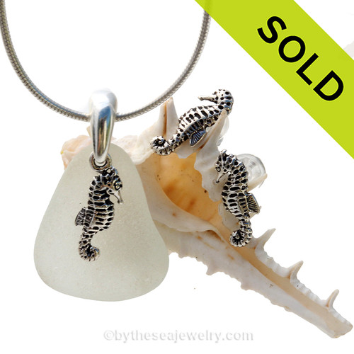 Perfect piece of pure white beach found sea glass from Puerto Rico combined with Solid Sterling Sea Horse charms for a great beachy look. SOLD - Sorry this Sea Glass Jewelry Selection is NO LONGER AVAILABLE!