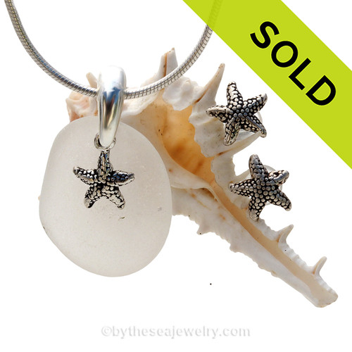 Perfect piece of pure white beach found sea glass from Puerto Rico combined with Solid Sterling Sea Star charms for a great beachy look. SOLD - Sorry this Sea Glass Jewelry Selection is NO LONGER AVAILABLE!