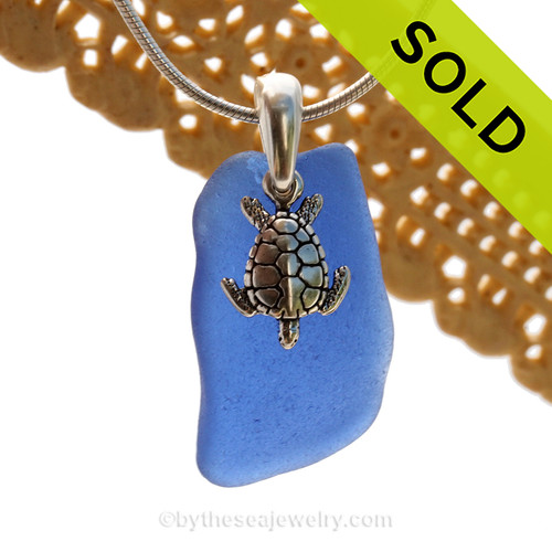 A nice piece of Cobalt Blue Certified Genuine Sea Glass in a Sterling Necklace with a Sea Turtle Charm. Sorry this piece of Sea Glass Jewelry has been SOLD!