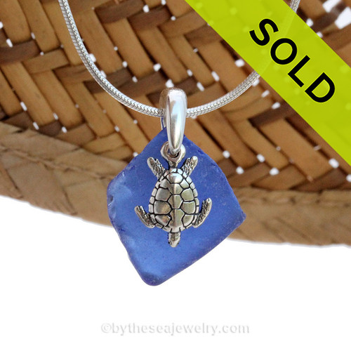 A smaller piece of Cobalt Blue Certified Genuine Sea Glass in a Sterling Necklace with a Sea Turtle Charm. Sorry this piece of Sea Glass Jewelry has been sold!