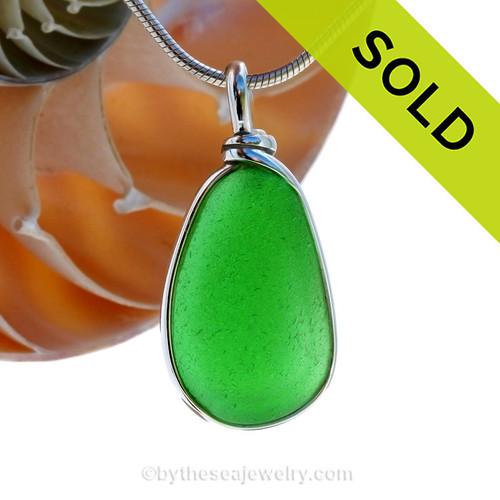 Vivid Bright Green Sea Glass Necklace Pendant in Original Wire Bezel© Setting