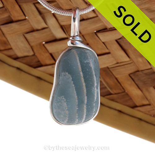 ULTRA RARE - Mixed Gray & Opaque White Striped End Of Day Sea Glass Sterling Original Wire Bezel© Pendant