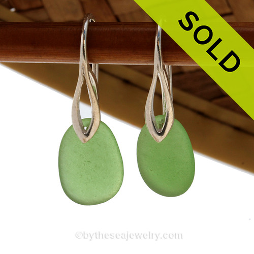 Simple beach found green sea glass pieces on solid sterling silver deco hooks. SOLD - Sorry these Sea Glass Earrings are NO LONGER AVAILABLE!