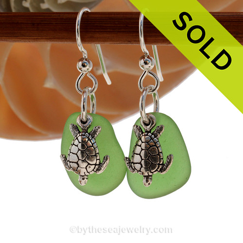 Natural bright green sea glass pieces are set with solid sterling sea turtle charms and are presented on sterling silver fishook earrings. Sorry these Sea Glass earrings have been SOLD!