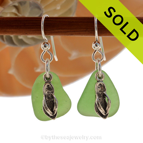 Natural bright green sea glass pieces are set with solid sterling flip flop charms and are presented on sterling silver fishook earrings. SOLD - Sorry these Sea Glass Earrings are NO LONGER AVAILABLE!