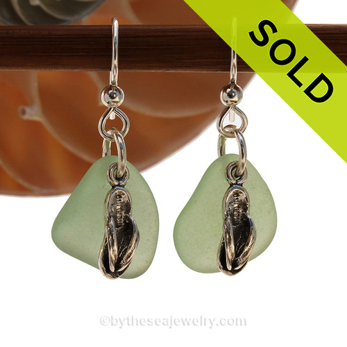 A perfect matched pair of beautiful seafoam green sea glass earrings combined with solid sterling Flip Flop charms. SOLD - Sorry This Sea Glass Jewelry Selection Is NO LONGER AVAILABLE!