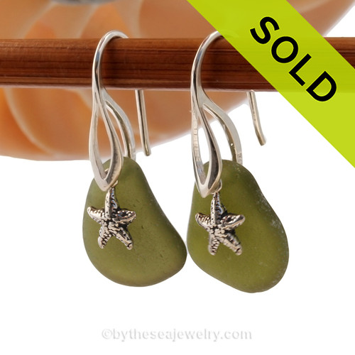 Simple beach found seaweed green sea glass earrings on solid sterling silver deco hooks with sterling starfish charms. Sorry this Sea Glass Jewelry selection has been SOLD!