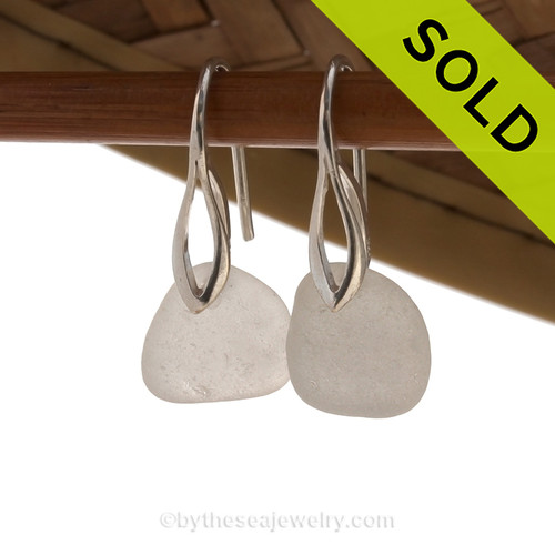 Airy and light pure white sea glass earrings in sterling on solid sterling deco hooks. Sorry this Sea Glass Jewelry selection is NO LONGER AVAILABLE!