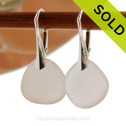 Shaped only by the sea, these larger natural white sea glass pieces really glow hanging from these solid sterling silver leverbacks. SOLD - These Sea Glass Earrings are NO LONGER AVAILABLE!