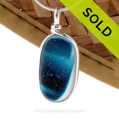 LARGE Mixed Striped VIVID Teal Blue English Sea Glass Sterling Original Wire Bezel© Pendant