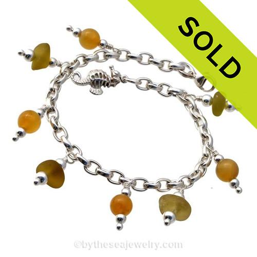 Citron Gold English Genuine Sea Glass All Sterling Charm Bracelet W/ Vintage Gem Beads