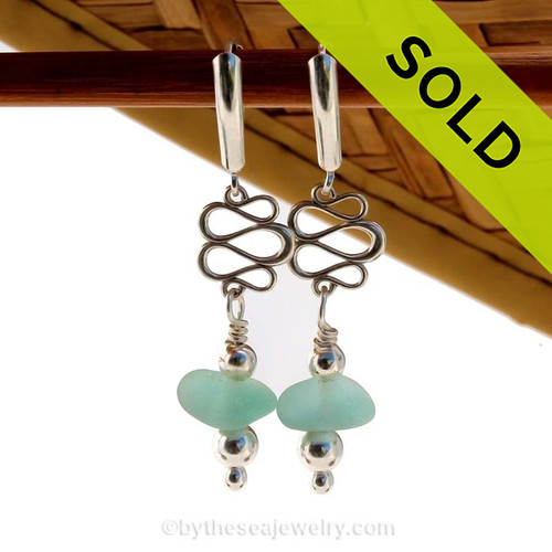 Aqua Blue English Sea Glass Earrings w/ Sterling Squiggles on S/S Leverbacks.
