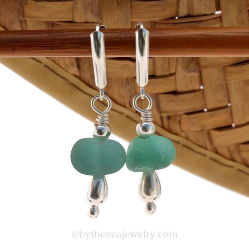 Genuine Aqua Sea Glass Earrings with sterling details on solid sterling leverback earrings.