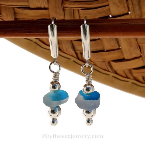 Genuine Flashed Vivid Aqua Blue Sea Glass Earrings with sterling squiggles details on solid sterling leverback earrings.