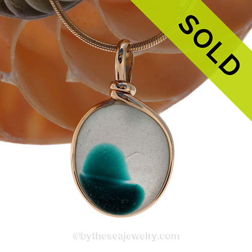 A vivid deep Electric Teal Mixed English Multi sea glass set for a necklace in our Original Sea Glass Bezel© in 14K Goldfilled setting. SOLD - Sorry this Rare Sea Glass Pendant is NO LONGER AVAILABLE!