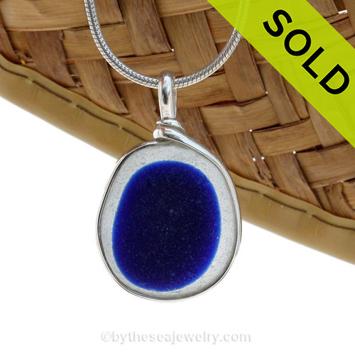A Rich Cobalt Blue English Multi sea glass set for a necklace in our Original Sea Glass Bezel© in Solid Sterling Silver setting. SOLD - SORRY THIS SEA GLASS PENDANT IS NO LONGER AVAILABLE.