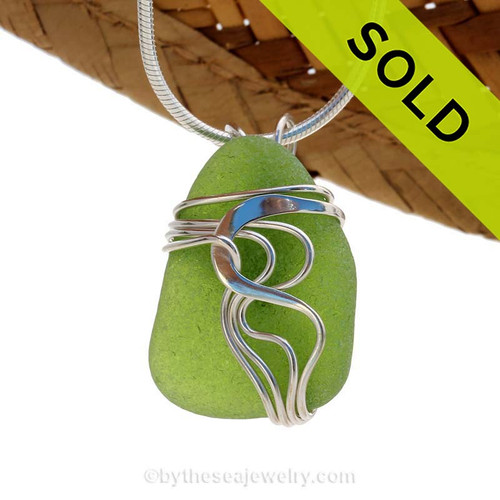 """A beautiful natural medium bright green Sea Glass Pendant set in our original signature """"Waves"""" setting in solid sterling silver. SOLD - Sorry this Sea Glass Jewelry selection is NO LONGER AVAILABLE"""