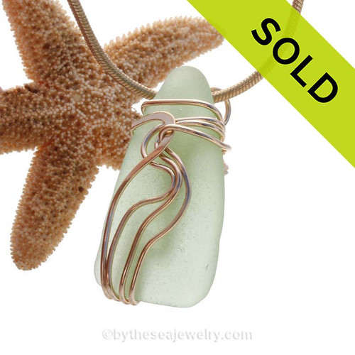 "A beautiful natural yellowy sea green sea glass pendant set in our original signature ""Waves"" setting in s14K Rolled Gold. Sorry this Sea Glass Jewelry selection has been SOLD!"