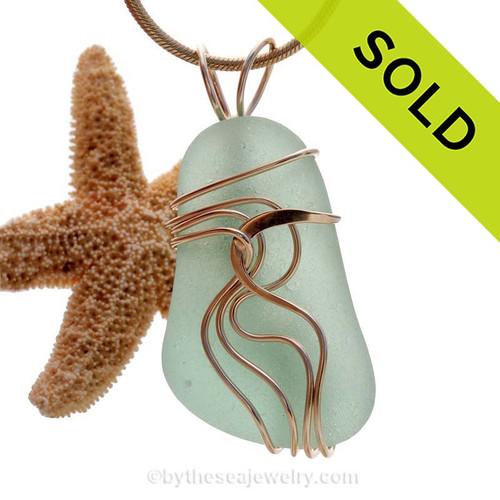 Large Deep Sea Green Sea Green Sea Glass 14K G/F Waves© Setting Necklace Pendant