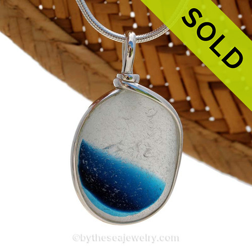 An rich vivid LARGE Royal Teal Blue English Multi sea glass set for a necklace in our Original Sea Glass Bezel© in solid sterling silver setting. SOLD - Sorry this Sea Glass Jewelry selection is NO LONGER AVAILABLE!