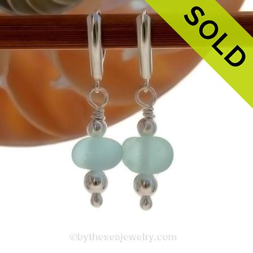 Chunky Aqua Seaham Sea Glass Earrings on Sterling Silver Leverbacks.
