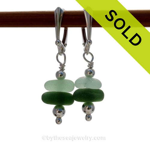 Genuine Light and Dark Sea Glass Earrings with sterling details on solid sterling leverback earrings.