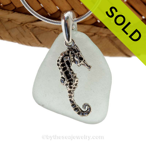 LARGE pale aqua sea glass set on a solid sterling cast bail with a sterling silver Seahorse charm. SOLD - Sorry this Sea Glass Necklace is NO LONGER AVAILABLE!