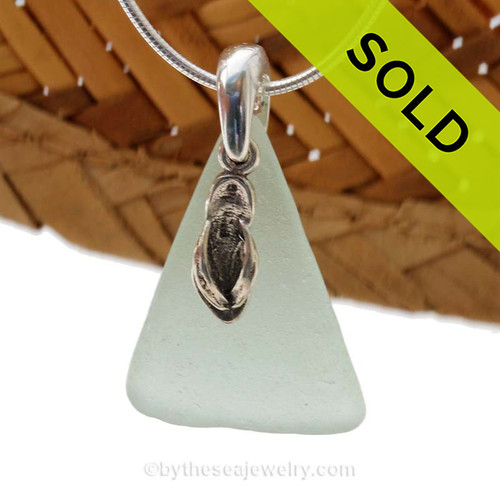Perfect Seafoam Green sea glass necklace set on a solid sterling cast bail with a sterling silver Flip Flop charm.