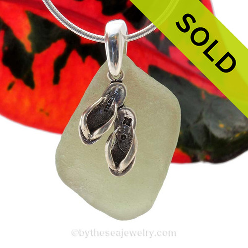 """Pale Citron Green Sea Glass With Sterling Silver Flops Charm - 18"""" STERLING CHAIN INCLUDED  SOLD - Sorry This Sea Glass Jewelry Selection Is NO LONGER AVAILABLE!"""
