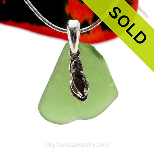 "Bright Green Sea Glass With Sterling Silver Flops Charm - 18"" STERLING CHAIN INCLUDED Sorry this Sea Glass Necklace has already been SOLD!"