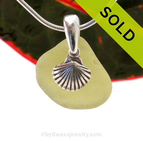 """Bright Citron Green Sea Glass With Sterling Silver Sea Shell Charm - 18"""" STERLING CHAIN INCLUDED  SOLD - Sorry this Sea Glass Necklace is NO LONGER AVAILABLE!"""