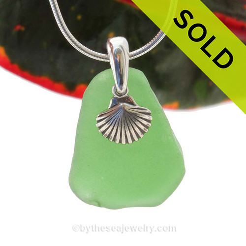 "Bright Green Sea Glass With Sterling Silver Sea Shell Charm - 18"" STERLING CHAIN INCLUDED. SOLD, sorry this Sea Glass Necklace is no longer available."