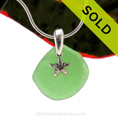 Common Larger Green Sea Glass Necklace set on a solid sterling cast bail with a sterling silver Starfish charm. SOLD - Sorry this Sea Glass Jewelry selection is NO LONGER AVAILABLE!