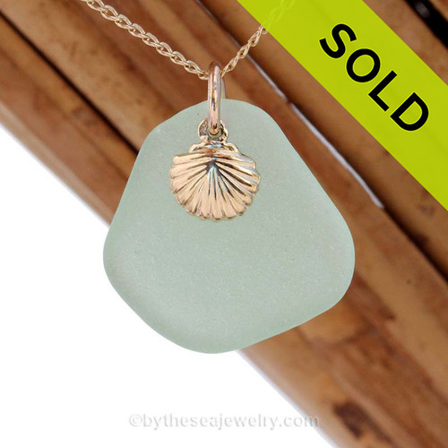 A perfect Seafoam Green sea glass necklace is combined with a 14K G/F shell charm and comes WITH this 18 Inch 14K Goldfilled curb chain!. SOLD - Sorry this Sea Glass Jewelry selection is NO LONGER AVAILABLE!
