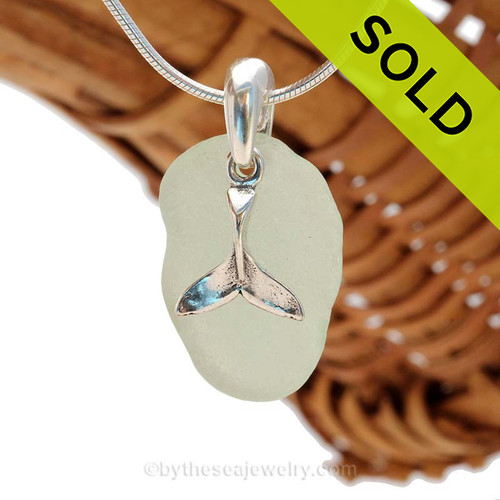 """Seafoam Green Sea Glass With Sterling Silver Whale Tail Charm - 18"""" STERLING CHAIN INCLUDED. Sorry this Sea Glass Necklace is no longer available."""