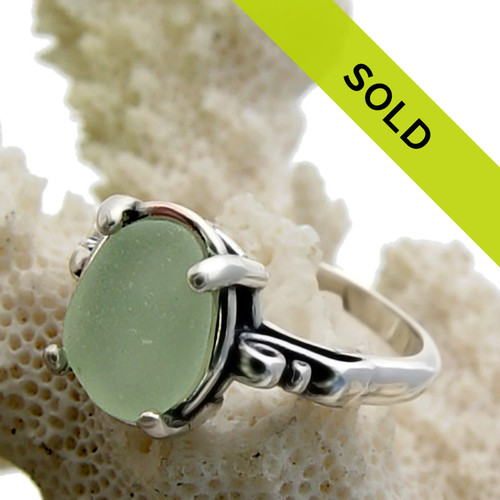 Perfect Seafoam Sea Glass In Sterling Ring - Size 8