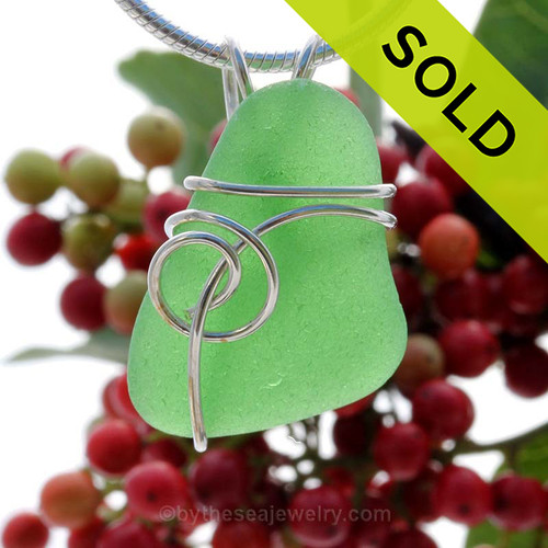 This natural perfect sea glass piece is Vivid Green Genuine Sea Glass In Sterling Sea Swirl Setting Pendant for Necklace. SOLD - Sorry This Sea Glass Jewelry Selection Is NO LONGER AVAILABLE!