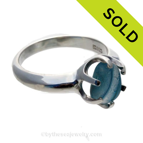 GENUINE Ultra Rare Mixed Aqua Blue  Seaham Sea Glass Resizable Ring In Sterling - Size 8