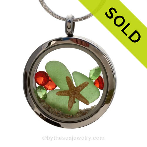 Green sea glass and a real starfish and beach make this a great locket necklace for the holidays. Sorry this Sea Glass Locket has been sold!