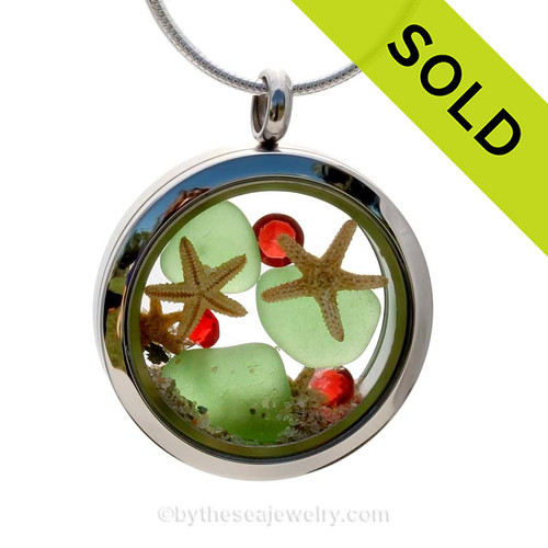 Green Genuine beach found sea glass and a three real starfish and beach make this a great locket necklace for the holidays. Sorry this Sea Glass Jewelry piece has been SOLD!