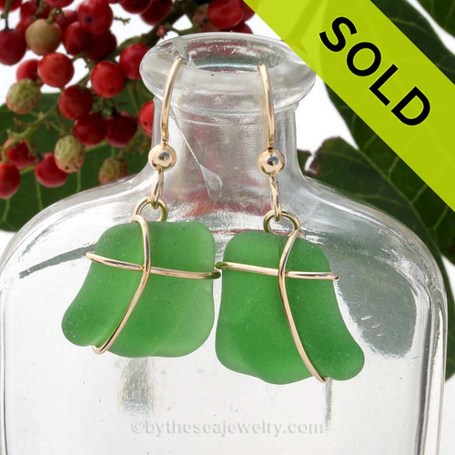A medium  pair of vivid green ridged sea glass in beautiful simple gold simple and secure earring setting. Sorry these Sea Glass Earrings are NO LONGER AVAILABLE!