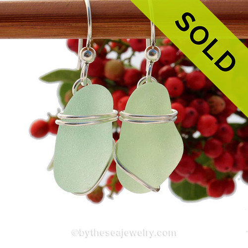 Seafoam green sea glass pieces set in a triple sterling silver for a lovely pair of sea glass  earrings. SOLD - Sorry these Sea Glass Earrings are NO LONGER AVAILABLE!