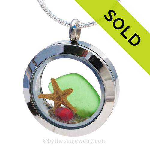 Vivid Green sea glass and vivid bright  red and green gemstones make this a great locket necklace for the holidays.