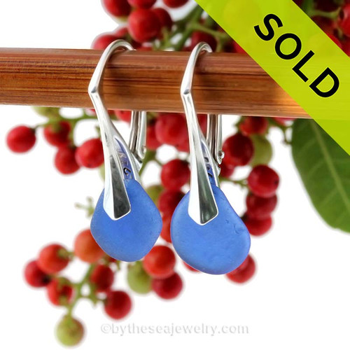 Simple and elegant these perfect petite Genuine Blue Sea Glass Earrings are bound to get you compliments! SOLD - Sorry this Sea Glass Jewelry Selection is NO LONGER AVAILABLE!