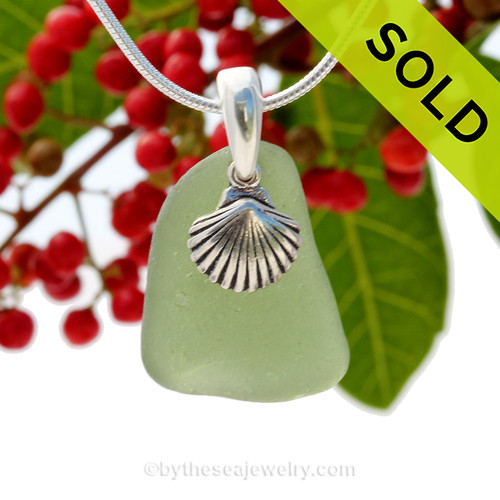"""Bright Citron Green Sea Glass With Sterling Silver Sea Shell Charm - 18"""" STERLING CHAIN INCLUDED. SOLD - Sorry This Sea Glass Jewerly Selection Is NO LONGER AVAILABLE!"""