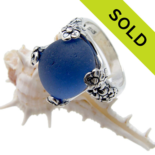 A substantial high profile ring (1/2 inch high) in sterling ring with a very rare and picturesque piece of English Sea Glass in a Vivid perfect medium Blue. SOLD - Sorry these Ultra Rare Sea Glass Ring is  NO LONGER AVAILABLE!