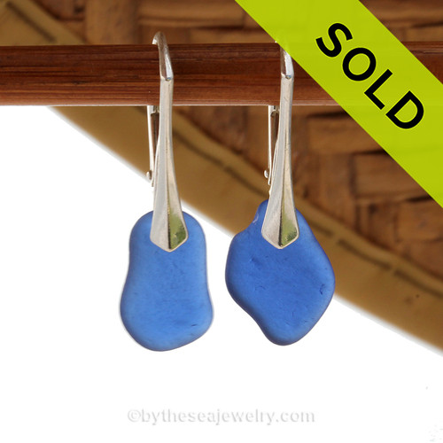 Small Nice Beach Found Blue Sea Glass Earrings On Solid Sterling Silver Leverbacks