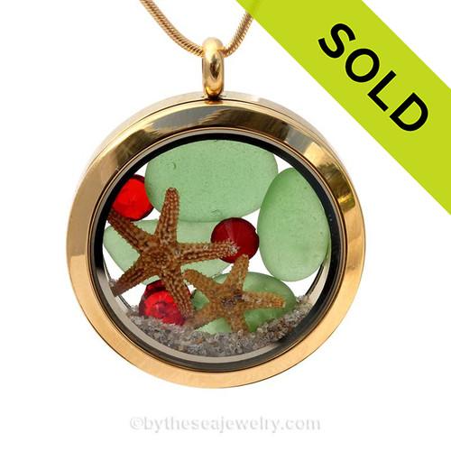 Holiday Beach - Genuine Sea Glass Locket Necklace W/ Real Starfish, Sandollar & Beach Sand & Crystals