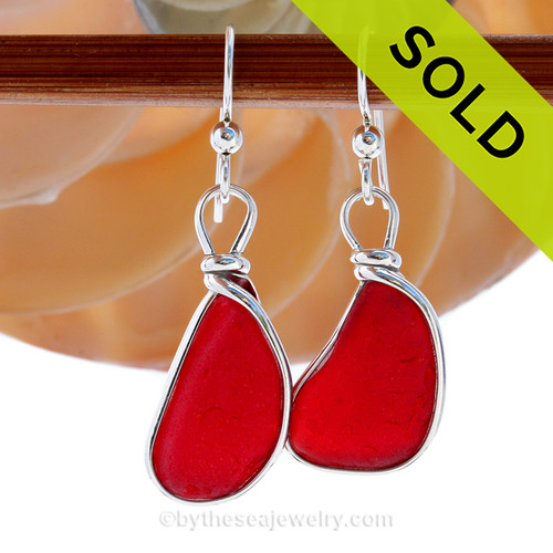 Large Vivid Bright Red Sea Glass Earrings set in our Original Wire Bezel© in silver. SOLD - Sorry these Ultra Rare Sea Glass Earrings are NO LONGER AVAILABLE!